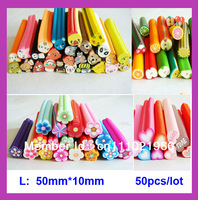 Free shipping ( 50pcs/lot)  Mix Flower/Fruit/Animal Fimo Cane Big Polymer Clay Cane Cutted Decoration