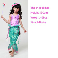Free shipping Cheap kid Children birthday party halloween carnival princess Ariel mermaid dress from The Little Mermaid