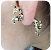 Min order $15 (mix order)Brand New Vintage PUNK Horse Unicorn Earrings/ Puncture Ornaments. Free shipping Jewelry Supplier