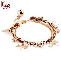 2013 New Fashion  F0461 Red  designer charm bracelet with dragonfly