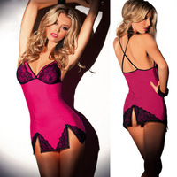 2014 Sexy Mesh Slip Lingerie Babydoll With Lace Overlay Cup and Trimmed One Size Fit S M With G-string Free Shipping