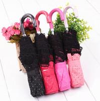 Hot selling Three Folding Princess Umbrella Lace Curved Handle Folding Clear Umbrella Parasols Wedding Umbrella