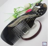 NEW ARRIVED-Wholesale lots 5PCS Handicraft Natural horn phoenix comb natural horn carving comb