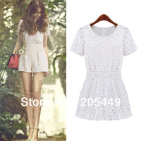 Womens Hollow Lace Pleated waist Jumpsuits Rompers Short pants Playsuits Dropshiping Wholesale