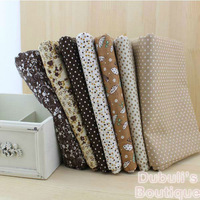 Brown 7 Assorted Pre-Cut Charm Cotton Quilt Fabric Fat Quarter Tissue Bundle, Best Match Floral Stripe Dot Grid Print 50x50cm