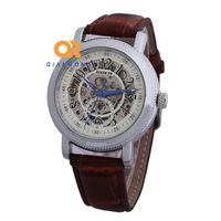 New brand luxury automatic mechanical watches an for lady women skeleton designer stainless steel leather band wrist watch