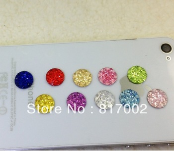 HOT SALE! 100pcs Crystal Diamond  Home Button Stickers for iPhone 4 4s iPad iTouch DIY phone decoration Free shipping