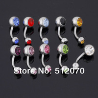 10Pcs Multicolor Crystal Surgical Steel Belly Rings Studs Wholesale Fashion Body Piercing Jewelry Ball End