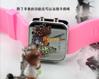 wholesale 300pcs/lot 2013 new LED mirror watch korean fashion watch +Fedex/EMS  Free shipping