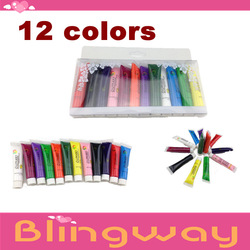 12 pcs/set 12 color Professional 3d multi-surface nail art paint/UV Gel Acrylic Design 3D Paint Nail Art Pen Nail Polish(China (Mainland))