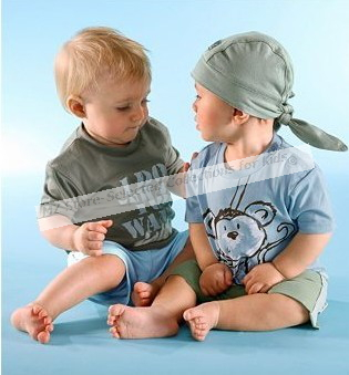 1pcs/lot,Retail childrens clothing set 3 pcs suit,t-shirt shorts for boys of summer plus baby summer cap,cotton, Monkey pattern(China (Mainland))