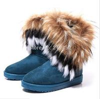 2015 Autumn Winter Warm cheap shoes high long snow boots artificial fox rabbit fur leather tassel women's shoes free shipping