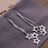 Free shipping 925 sterling silver jewelry earring fine cute star pendant drop jewelry earring wholesale and retail SMTE161