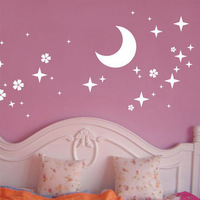 (Various Colors) Moon & Star Decor Mural Art Wall Sticker Decal Y1338
