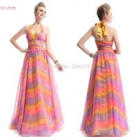 09734  Trailing Floral Printed Satin Halter Fishtail Evening Dress
