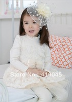 Free Shipping Baby Girls  Long Sleeve Rose Falbala Princess Dress Bow Ruffle Layered Dress Cotton Blended 5pcs/lot 1074