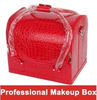 Shoulder professional cosmetics bag fashion PU hard case makeup box 18 colors double open women make-up handbags Christmas gift