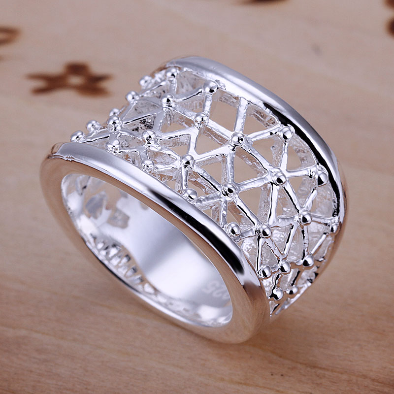 Free Shipping 925 Sterling Silver Ring Fine Fashion Hollow Ring Women&Men Gift Silver Jewelry Finger Rings SMTR032(China (Mainland))