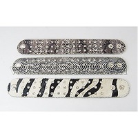 Leather Bracelets,  with Zinc Alloy Findings,  Platinum Metal Color,  Mixed Color,  230x39mm