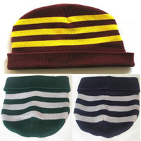 New Harry Potter Gryffindor Slytherin Ravenclaw Hat Warm Stripe Knitted Beanie Birthday Dress Up Party Gift Cap Cosplay Props