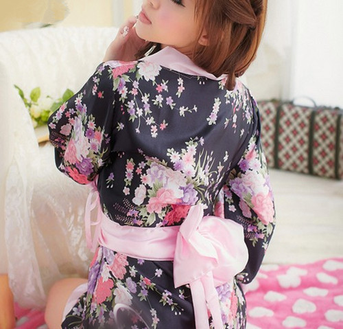 UPgraded Japanese Kimono Bath Robe Womens Sleepwear Dress Temptation Lingerie Night Gown Nightwear Stage Costume Free Shipping(China (Mainland))