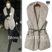 1pcs Free shipping 8640 autumn women's new arrival casual sleeveless hooded thickening outerwear vest belt