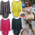 New Fashion Woman's HOT Ladies Casual Batwing Round Neck Knitted Pullover Jumper Loose Long Sweater