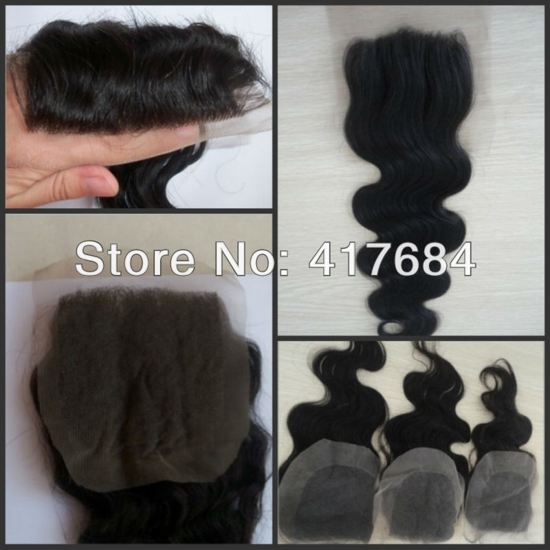 "2013 New Arrival! high quality virgin human hair closure size 4""x4"" light brown swiss lace medium density free shipping(China (Mainland))"