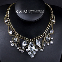 K&amp;M---New design CZ rhinestone crystal luxurious statement necklace NK-09010 FREE SHIPPING Ni/Pb free