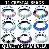 Shamballa Bracelet Quality Sparkling 10mm (11pcs) CZ Disco Crystal Beads Bracelet Handcraft Friendship Bracelet Free Shipping