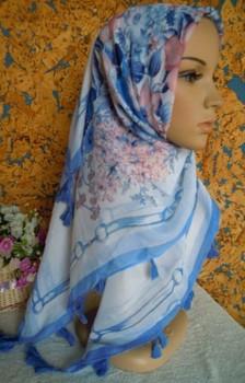 MIx Wholesales 100cm Voile Large Size Square Scarf muslim women bandanas hijab hats Printed Flower Shawl Headband Head Scarf