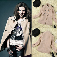New 2014 Fashion Women Stand Collar Double Breasted Military Epaulet Short Wool Blends Jacket Coats,Slim Women's Clothing