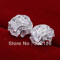 JE003 Lowest price wholesale 925 solid Silver earring charm Jewellry earring  women's  fashion jewelry, Rose Earrings