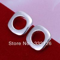JE016  Lowest price wholesale 925 solid Silver earring charm Jewellry earring  women's  fashion jewelry, Square Earrings