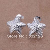 JE032  Lowest price wholesale 925 solid Silver earring charm Jewelry earring  women's  fashion jewelry, Polished Star Earrings