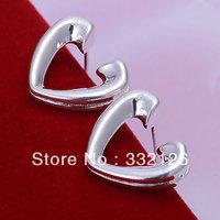 JE065 Lowest price wholesale 925 solid Silver earring charm Jewellry earring  women's  fashion jewelry, Half Heart Earrings