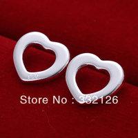 JE109 Hot sale, lowest price wholesale 925 solid Silver earring Fashion women charm Jewelry earring, Flat Hollow Heart Earrings