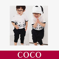 Free Shipping Retail 2013 100% Cotton New Summer children Set 2~9Age Panda children's wear