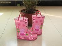 Cute pig kid girls boots pink flower rain boots