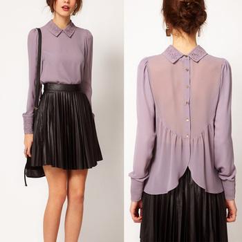 New Lapel Collar Sheer Lace Chiffon Long Sleeve Women's Shirt Tops Blouses # L034756