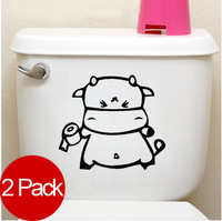 (Minimum order $5) 2 Pack Wash Room Toilet Roll Paper Decor Mural Wall Sticker Decal S061 (various colors)