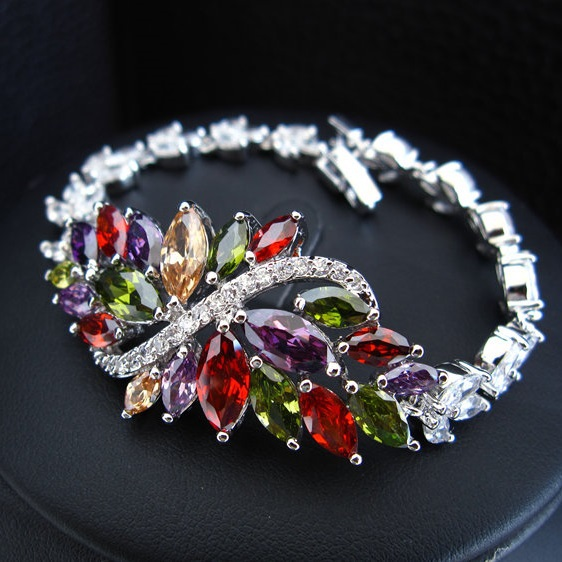 2013 Luxury zircon bracelet,brass base platinum plated,fashion crystal bracelet,wholesale lot(China (Mainland))