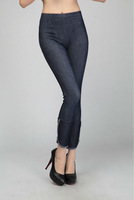 Wholesale + Free Shipping!! New!! 2013 Women Brass Buttons Imitation Denim Jeans Leggings Two Colors Lady  Pants