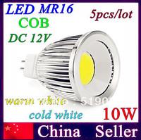 Retail and Wholesale LED  AC/DC 12V 5pcs MR16 COB 10W spotlight downlight led bulb warm/cold white