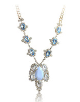 F05056 Hot Sale Fresh Spring Light Blue Crystal Pendant Necklace Choker Collar Design For Lady Girl + Free shipping