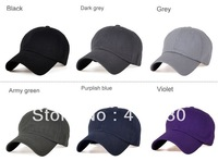 Free shipping Hot sales Solid color 6 panels baseball cap cotton sport cap plain washed cotton cap.