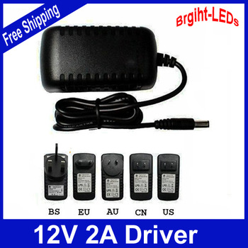 AC 100-240V to DC 12V 2A Power Adapter Supply Charger For LED Strips Light EU US EU AU UK Plug