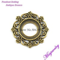 Wholesale Fashion Jewelry Pendant Tray  500PCS/Lot  Antique Bronze 24*30 MM  Round Alloy Base Setting For Jewelry Necklaces