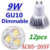 12pcs/lot Dimmable GU10 3X3W 9W Led Lamp Spotlight 85V-265V Led Light downlight High Power Free shipping