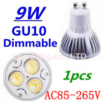 1pcs/lot Dimmable GU10 3X3W 9W Led Lamp Spotlight 85V-265V Led Light downlight High Power Free shipping